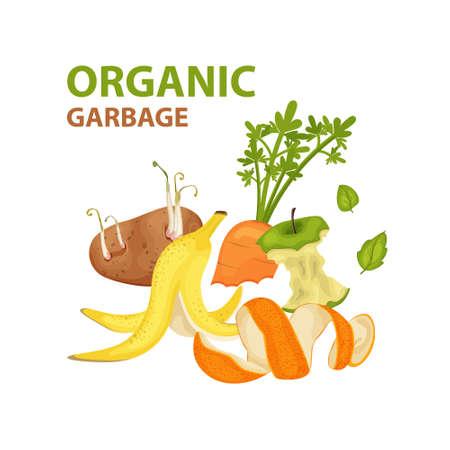Cartoon organic garbage. Illustration for organic waste, zero waste theme and modern environmental problem.