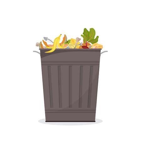 Trash bin filled with food waste. Illustration for organic waste, zero waste theme, modern environmental problem.