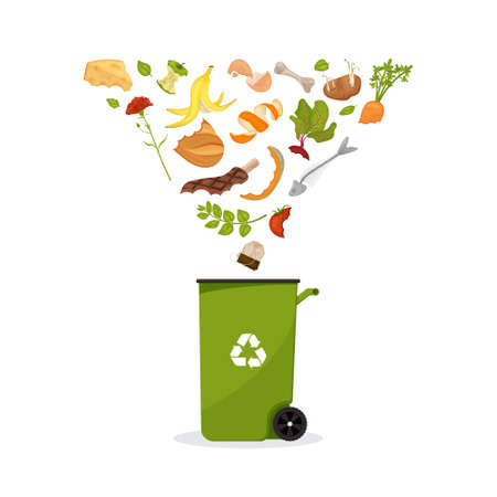 Trash bin with products flying into it. Cartoon food garbage. Illustration for food processing and compost, organic waste, zero waste theme.