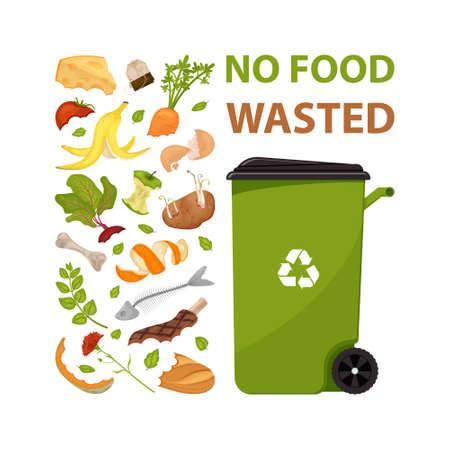 Poster mit Text Keine Lebensmittelverschwendung. Cartoon-Mülleimer mit Lebensmittelmüll. Illustration für Lebensmittelverarbeitung und Kompost, organischer Abfall, Zero-Waste-Thema.