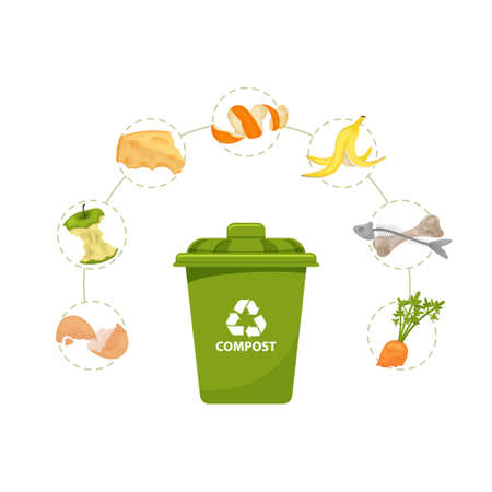 Trash bin  with food garbage. Environmentally friendly food. Cartoon leftovers. Illustration for food processing and compost, organic waste, zero waste theme.