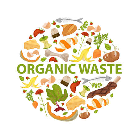 Round template Organic waste theme. Collection of fruits and vegetables. No food wasted. Set of leftovers. Illustration for organic waste, zero waste theme, modern environmental problem.