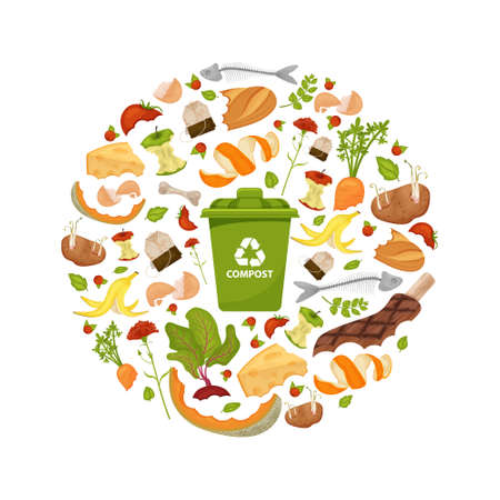 Round template Organic waste theme. Collection of fruits and vegetables. Illustration for home food processing and compost, organic waste, zero waste, environmental problem.