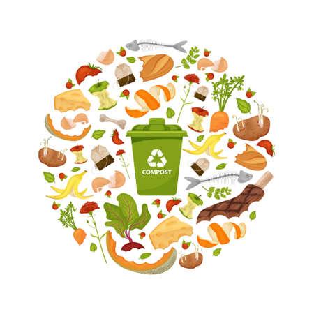 Runde Vorlage Thema Biomüll. Sammlung von Obst und Gemüse. Illustration für die Lebensmittelverarbeitung und Kompost zu Hause, organische Abfälle, null Abfall, Umweltproblem.