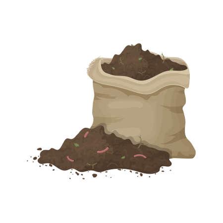 Bodenhaufen mit Würmern und Segeltuchtasche zur Veranschaulichung von Boden, organischem Dünger, Kompost, Landwirtschaft. Zero-Waste-Thema.