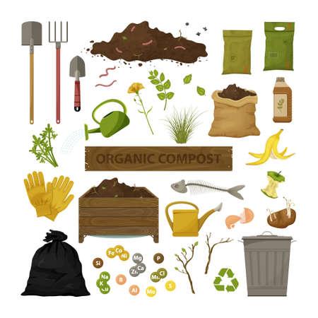 Ensemble d'icônes plates de dessin animé. Thème du compost organique. Outils de jardin, caisse en bois, sol, déchets alimentaires. Illustration de bio, engrais organique, compost, agronomie. Vecteurs