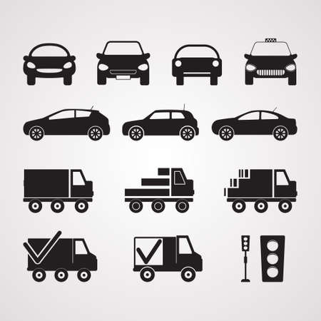 Carved silhouette flat icons. Set of different cars in profile and full face. Illustration of transport, passenger and cargo transport. Truck, sedan, hatchback. Symbol of delivery and taxi.