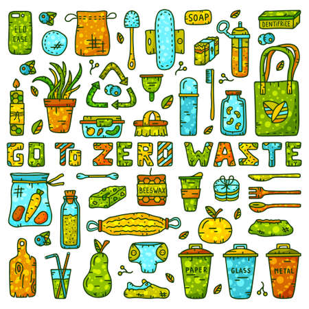 Big set of zero waste theme. Color elements. Eco shopping bag, bottle, jar, cup, hygiene products. Illustration for save planet.