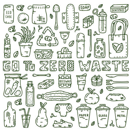 Collection of zero waste theme. Illustration for save planet. Eco shopping bag, bottle, jar, cup, hygiene products. Vectores