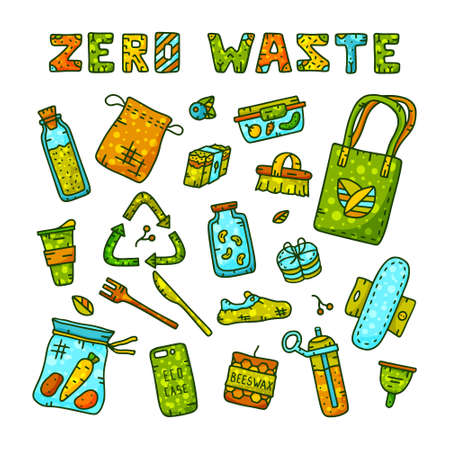Zero waste cartoon elements with text. Illustration for environmental problem. Vectores