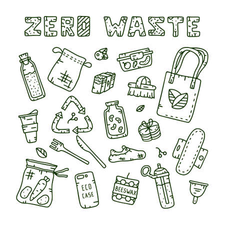 Zero waste collection of isolated elements and text. Illustration of eco theme for coloring book, brochure, t-shirt.