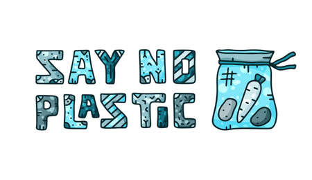 Horizontal lettering with cotton bag for say no plastic theme. Doodle blue design. Illustration for banner and web site, books, bio products