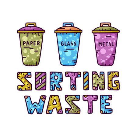 Color illustration of three garbage cans and waste sorting text. Great bright poster for zero waste theme. Vectores