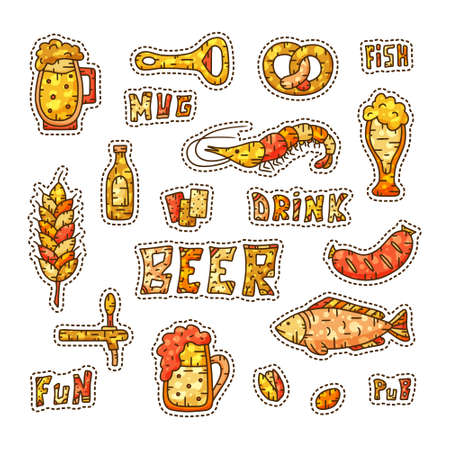 Multicolor collection of beer stickers. Orange and brown cartoon doodles 向量圖像