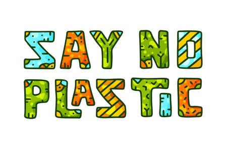 Say no plastic. Color doodle lettering.
