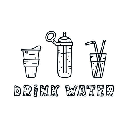 Horizontal contour illustration for banner, poster, card. Drink water template. Hand drawn take out cup, tall bottle, glass with two tubes. Line art design with pattern Standard-Bild - 129460058