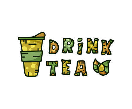 Drink tea color doodle lettering. Hand drawn horizontal poster with takeaway cup, text and tea leaves.  イラスト・ベクター素材