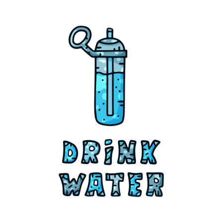Drink water illustration. Color vertical poster with text and bottle. Blue funny design for poster. Graphic template, hand drawn doodle image for diet, sport and health