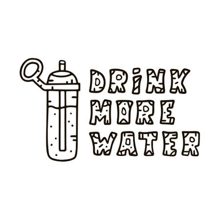 Drink more water. Contour doodle lettering with spots bottle. Positive vector illustration in cartoon outline style. Hand drawn horizontal banner with pattern