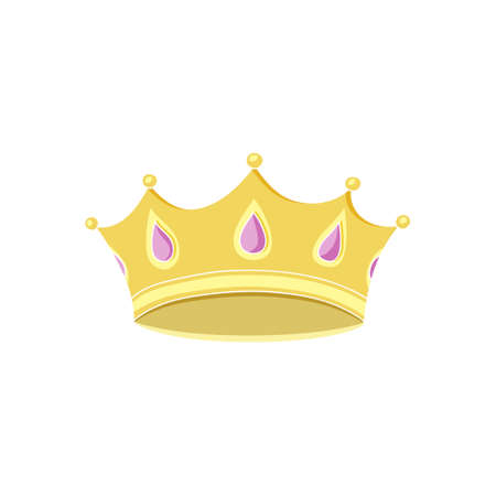 Hand drawn vector illustration of princess crown. Cartoon king corona. Color image of gold jewelry, luxury goods. Design element for childrens games, emperor, kingdom. Stock Illustratie