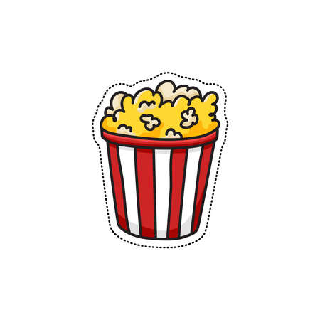 Doodle vector popcorn icon. Hand drawn color sticker or badge. Cartoon food image with dotted line. Classical symbol snack while watching movie. Big red and white tub Stock Illustratie