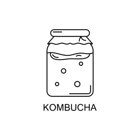 Kombucha line art icon. Vector illustration of glass jar with fermented tea, chinese mushroom and bubbles. Symbol of detox diet and healthy lifestyle. Outline minimalistic design Ilustração