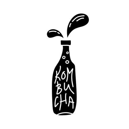Silhouette bottle of kombucha tea with splach. Carved hand drawn vector illustration for packaging design. Super food concept. Symbol of antioxidant drink