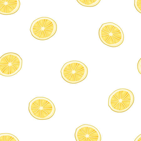 Seamless food pattern. Cartoon lemon on white background. Flat vector illustration for textile, paper, packaging. Hand drawn citrus fruit