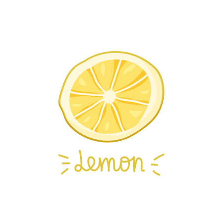 Color slice of lemon on white background. Hand drawn isolated illustration with handwritten text. Fruit food concept. Cartoon vector clipart