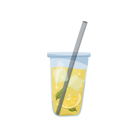 Glass of lemonade with ice cubes, lemon slices and mint leaf on white background. Flat food illustration. Cartoon hand drawn cold drink. Isolated vector icon of Long Island Iced Tea 向量圖像