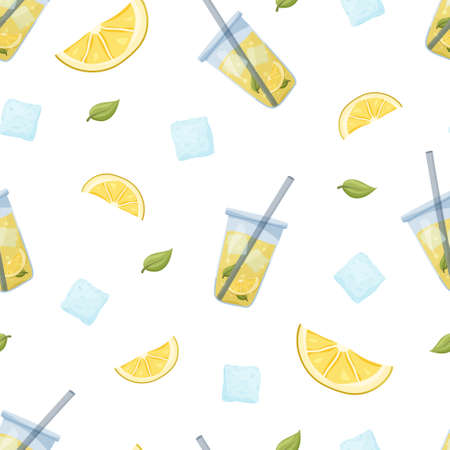 Color seamless vector pattern. Glass of lemonade with ice cubes, lemon slices and mint on white background. Flat food illustration. Cartoon hand drawn drink for print, fabric, paper, packaging
