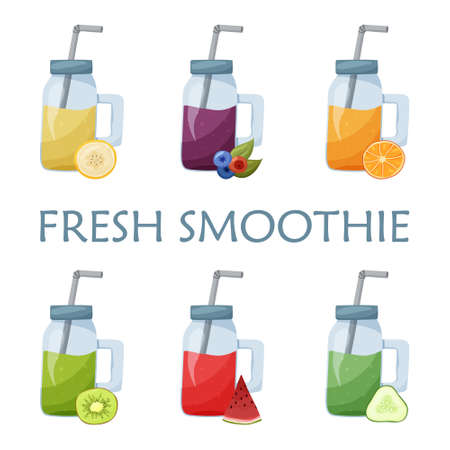 Set of fruit smoothies. Mason jar with tube and different ingredients on white background. Flat food vector illustration. Cartoon hand drawn detox cocktail. Healthy trend isolated drinks Çizim