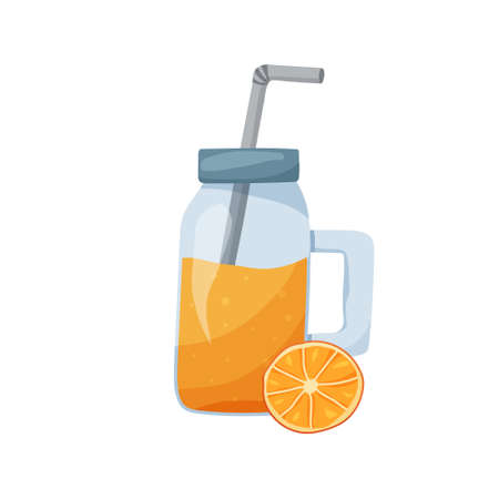 Orange smoothie. Mason jar with tube and cap on white background. Flat food vector illustration. Healthy isolated citrus drink. Cartoon hand drawn detox cocktail