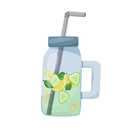 Sassy water in bottle for losing weight. Healthy isolated drink. Flat food vector illustration. Cartoon hand drawn detox cocktail. Mason jar with lemon, cucumber, ginger, mint on white background