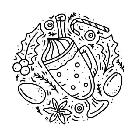 Round doodle template of eggnog. Hand drawn vector concept. Contour illustration for emblem, sticker, banner. Outline cartoon glass mug with isolated elements. Traditional christmas alcoholic drink Ilustração