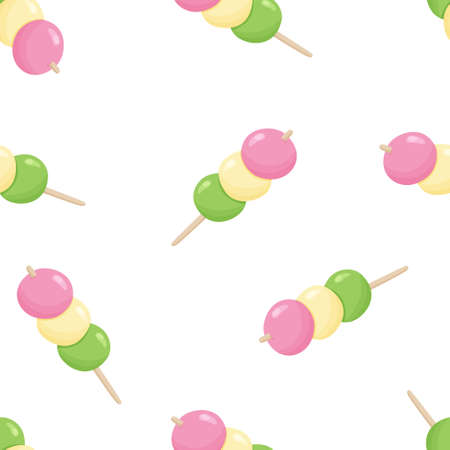 Seamless food vector pattern. Cartoon hand drawn japanese dango on white background. Color flat illustration for textile, wallpaper, clothes, paper, packaging. Three rice balls, asian dumpling Ilustrace