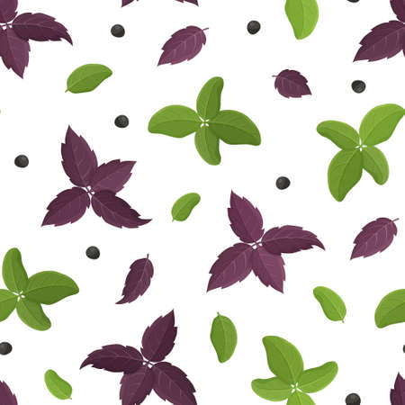 Seamless food vector pattern. Cartoon hand drawn basil leaf with black pepper on white background. Flat illustration for fabric, textile, wallpaper. Isolated green and purple plant. Floral design