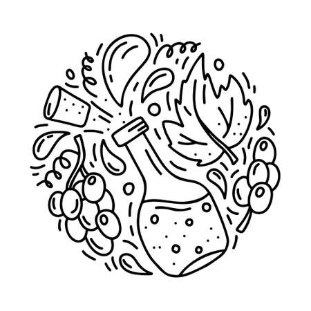 Round doodle template of wine or balsamic vinegar. Hand drawn vector concept. Contour illustration for emblem, sticker, print, banner. Outline cartoon set of bottle with isolated grapes and leaf