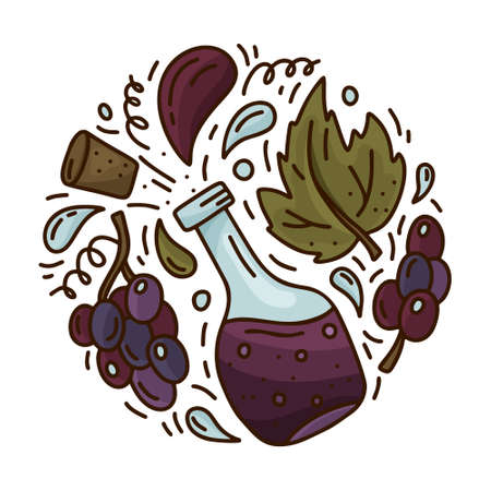 Cartoon bottle with isolated black grapes. Round doodle template of red wine or balsamic vinegar. Hand drawn vector concept. Color illustration for emblem, sticker, poster, banner