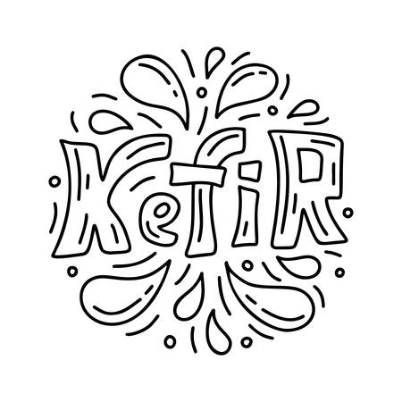 Kefir lettering. Round doodle template of probiotic product. Hand drawn vector concept. Contour illustration for emblem. Outline cartoon set of text with isolated spray drops. Black and white image Illusztráció