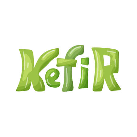 Cartoon green lettering of Kefir. Hand drawn vector template for  design packaging. Color isolated illustration on white background for emblem. Funny character image for drink. Stock picture