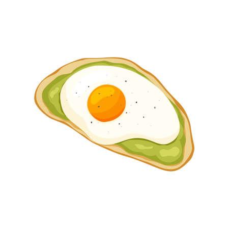 Icono de tostadas de aguacate plano. Ilustración de color de abundante desayuno o merienda saludable. Rebanada de dibujos animados de pan de trigo con puré de aguacate y huevos fritos espolvoreados con pimienta negra. Comida de vector dibujado a mano