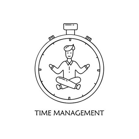 Calm man in lotus position inside stopwatch. Time management concept. Contour vector illustration. Hand drawn doodle image for business planning. Cartoon icon on white background Ilustracja