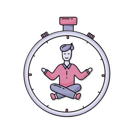 Time management concept. Happy man in nirvana at center of clock. Color vector illustration. Hand drawn doodle design for effective planning. Cartoon smiling character