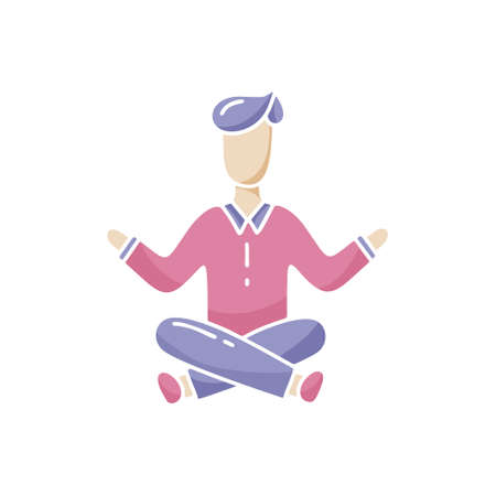 Person in lotus position. Calmness, concentration, meditation concept. Color vector illustration. Hand drawn design for yoga. Cartoon flat character with empty face isolated on white background Illustration