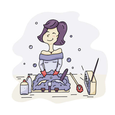 Young smiling woman is standing in front of sink and washing dishes. House cleaning concept. Color vector illustration. Hand drawn doodle housewife. Cartoon happy character Ilustracja