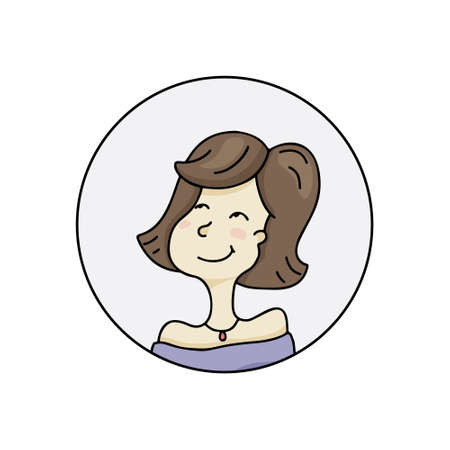 Avatar vector icon. Young white girl dreaming and looking up. Hand drawn cartoon illustration for profile user interface. Color doodle character with brown hair isolated on white background