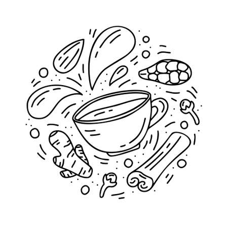 Round doodle template of masala tea. Hand drawn vector concept. Contour illustration for emblem, sticker, print, banner. Outline cartoon set of cup with isolated spices. Indian drink
