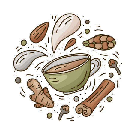 Masala tea, coffee or hot chocolate. Round doodle template. Hand drawn vector food concept. Contour illustration for card, sticker, poster. Color cartoon cup with isolated drops of milk and spices