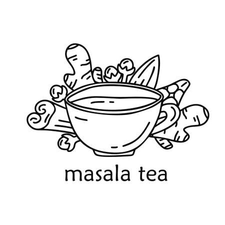 Outline cartoon cup with cinnamon, ginger, cardamom, clove, almond. Hand drawn vector food concept. Contour illustration for card, sticker, poster. Doodle isolated image with text masala tea Ilustracja
